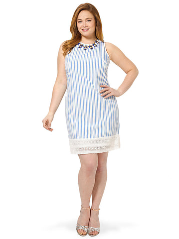 Shift Dress With Lace Border