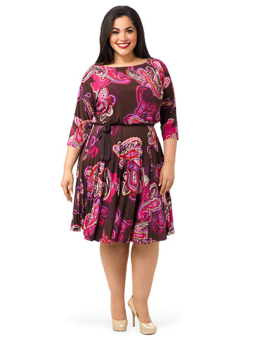 3/4 Sleeve Paisley Print A-Line Dress
