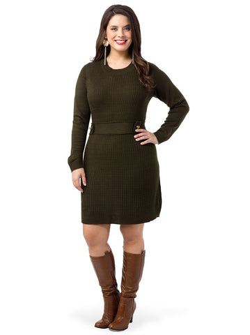 Tab-Waist Sweater Dress