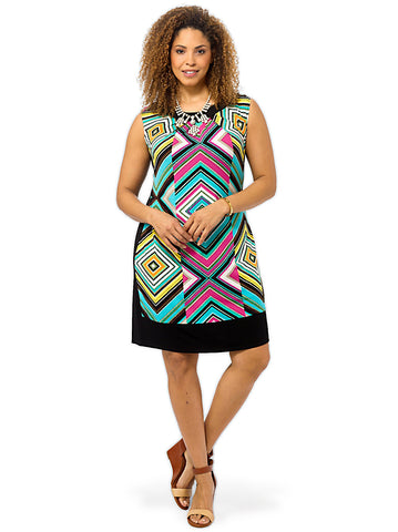 Cap Sleeve Geo Print Shift Dress