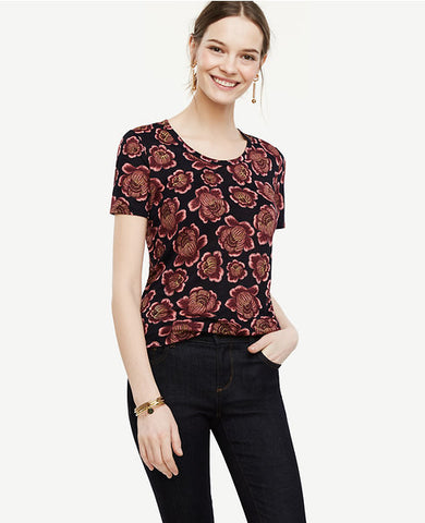 Floral Linen Scoop Neck Tee