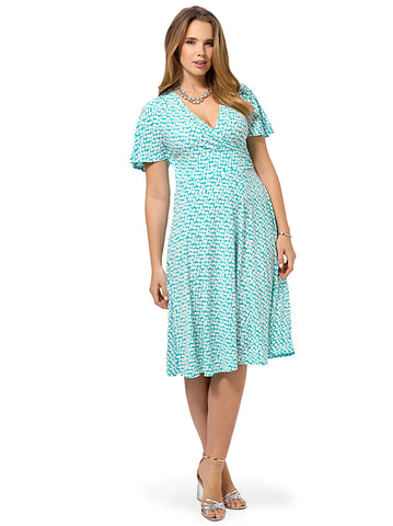 Kimono Sleeve A-Line Dress In Turquoise