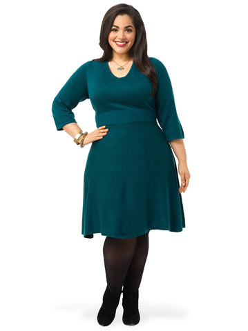 Three Quarter Sleeve A-Line Sweater Dress