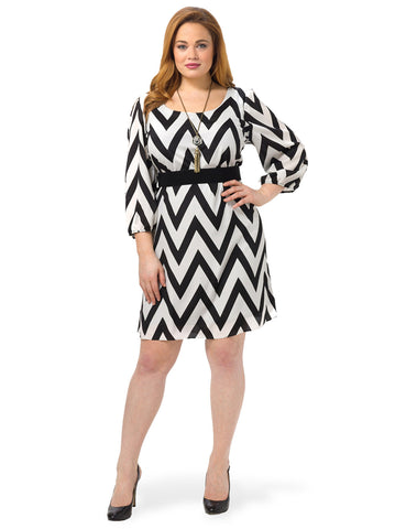 Chevron Print Dress In Black & White