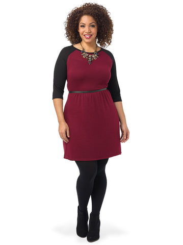 3/4 Sleeve Colorblock A-Line Dress In Burgundy