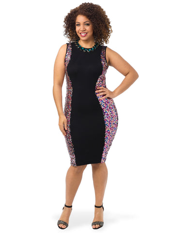 Bodycon Dress With Sequin Panels