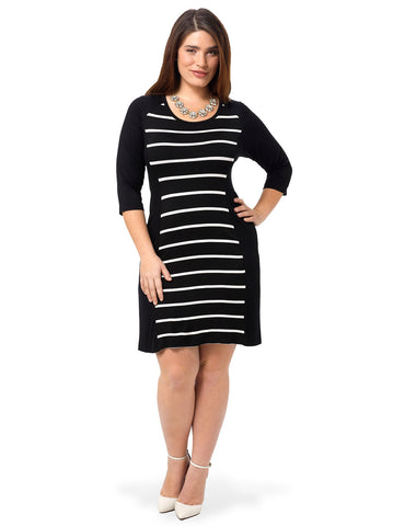 Stripe Panel 3/4 Sleeve Dress