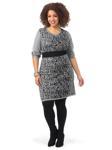 Long Sleeve Leopard Print Sweater Dress