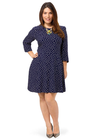 Polka Dot A-Line Dress In Blue & White
