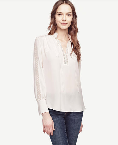 Lacy Tie Neck Blouse
