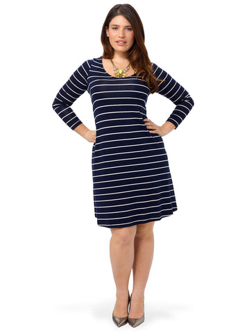 V-Neck Swing Dress In Stripe