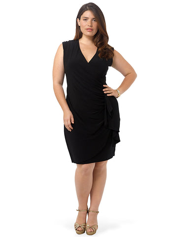 Ruched V-Neck Dress With Side Ruffle