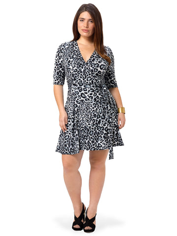 Essential Wrap Dress In Snow Leopard