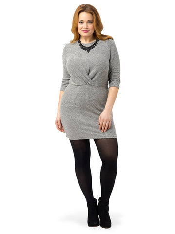 3/4 Sleeve Drape Front Dress In Light Grey