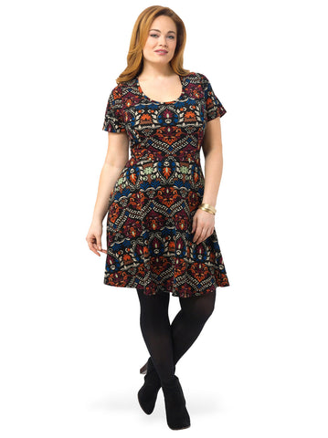 Scoop Neck Paisley Print A-Line Dress