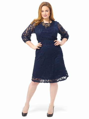 3/4 Sleeve Lace Dress With Cut Out Back