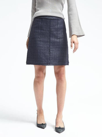 Frayed-Edge Tweed Skirt