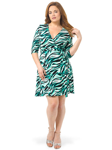 Essential Wrap Dress In Green Print