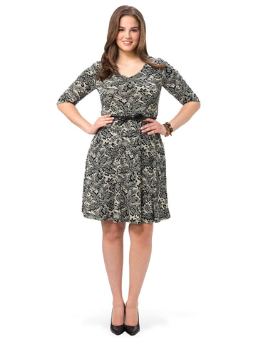 Lace Print Belted Dress