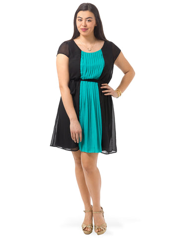 Pleated Colorblock A-Line Dress