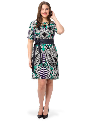 Short-Sleeve Printed Shift Dress