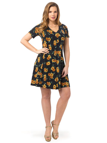 Skater Dress In Sunflower Print