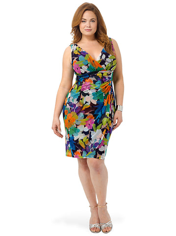 Side Ruched Floral Mesh Dress
