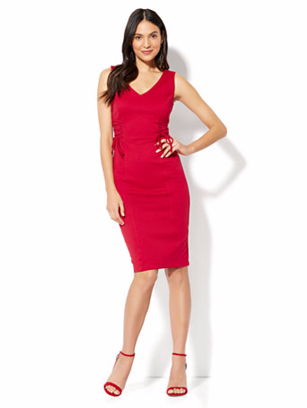 Lace-Up Accent Sheath Dress