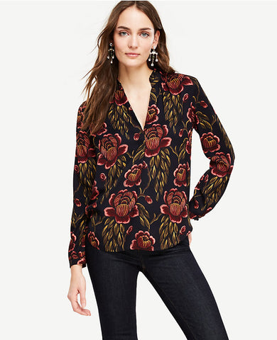 Rose Garden Pleated Collar Blouse