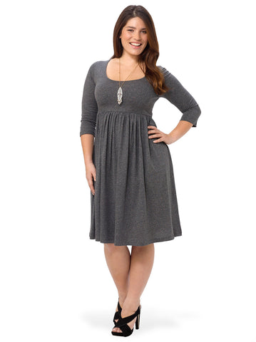 Gray Midi Dress With Scoop Neck