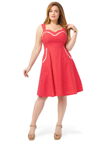 Suzy Dress In Red Dots