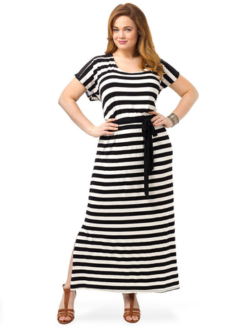 Striped Cutout-Back Maxi Dress