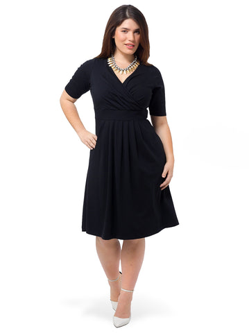 Elbow Sleeve Fit & Flare Dress In Black