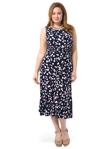 Ruched Waist Dress In Polka Dot
