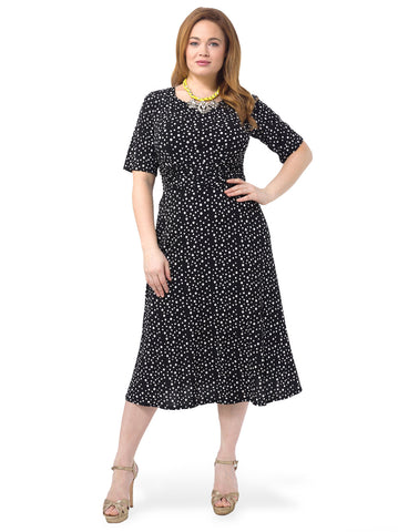Printed Ruched Waist Dress