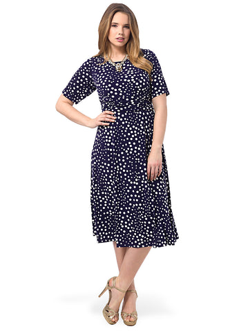 Ruched Waist Dress In Navy Polka Dot
