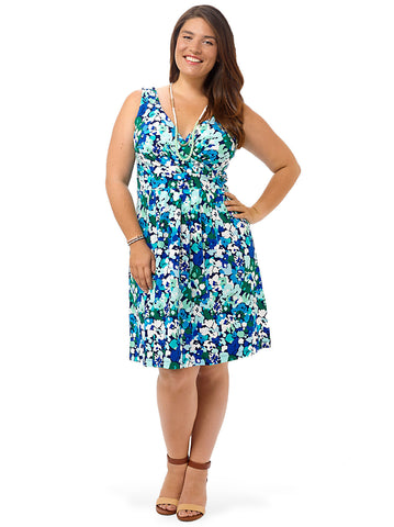Fit & Flare Dress In Blue Floral