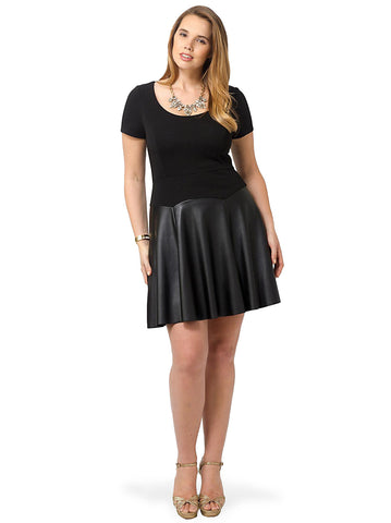 Fit & Flare Dress With Faux Leather Skirt