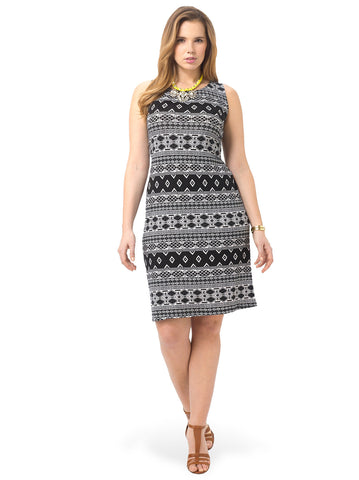 Sleeveless Printed Sheath Dress