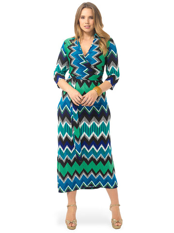 ZigZag Print Faux-Wrap Maxi Dress