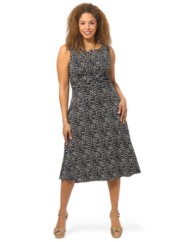 Abstract Print Ruched Waist Dress