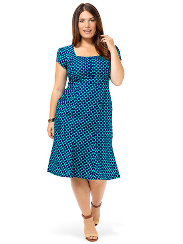 Natalie Dress In Navy Dots