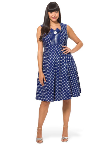 Kate Dress In Navy Dots
