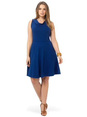 Cotton Knit Fold Over Sleeveless Dress In Blue