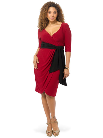 Harlow Faux Wrap Dress In Red & Black