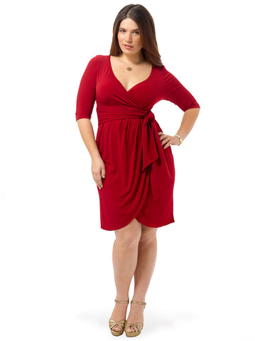 Harlow Faux Wrap Dress In Red