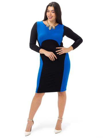 Long Sleeve Colorblock Surfer Dress