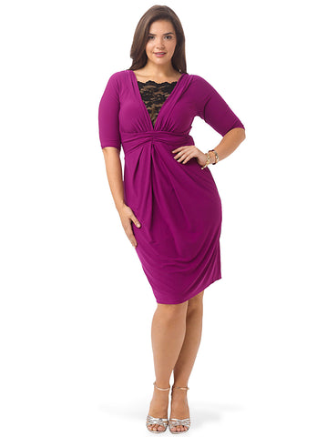 Signature Lace Cocktail Dress In Magenta