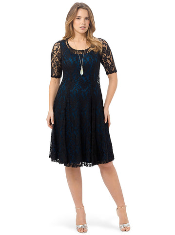 Sweet Leah Lace Dress In Black & Teal