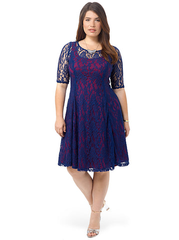 Sweet Leah Lace Dress In Navy & Plum